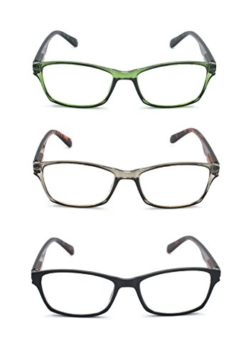 EYE-ZOOM 3 Pairs Classic Style Reading Glasses with Spring Hinge Comfort Fit for Men and Women Choose Your Magnification, Black, Green Tortoise and Grey, +2.00 - Reading Face Wide Glasses