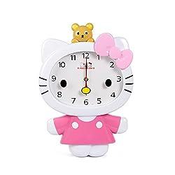 Cute Cartoon Hello Kitty Anime Children Clock KT Cat Sham Mute Creative Wall Clock (Pink)