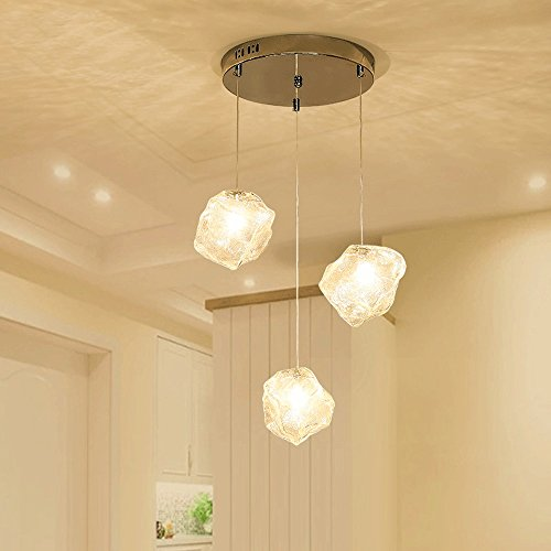 Ice Cube Pendant Lamp - G4 Creative Ice Cube Glass Pendant Lamp Vintage Dining Table Ceiling Light Height Adjustable Chandelier (Design : 2)