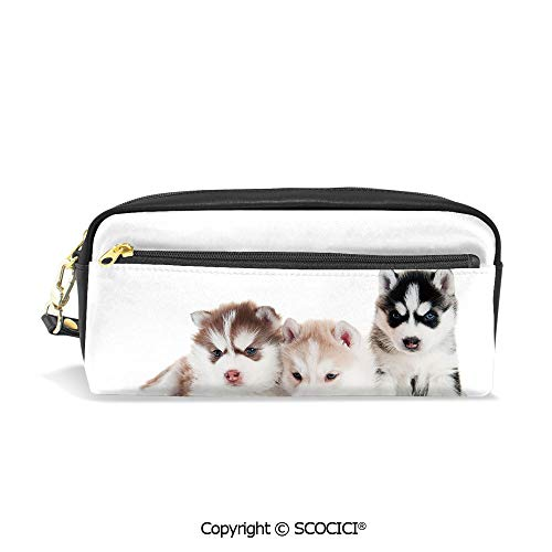 Tech Iii Multifunction Pen - PU Leather Student Pencil Bag Multi Function Pen Pouch Three Adorable Little Siberian Puppies Blue Eyes Image Decorative Office Organizer Case Cosmetic Makeup Bag