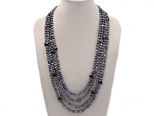 JYX Multi-Strand 8-9mm Black Flat Freshwater Pearl and Coin Pearl ()