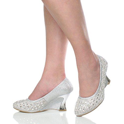 Compensées Haute Semelles Talon Or Arrondie À Moyen Femmes Chaussures Escarpins pAvcqq7