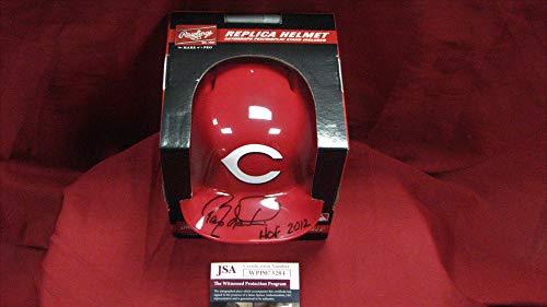 Barry Larkin Autographed Signed Reds Mini Batting Helmet Hall of Fame 2012 - JSA Wpp