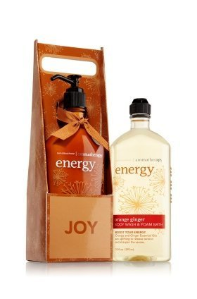 Bath and Body Works Aromatherapy ORANGE GINGER Village Carrier Energy Body Lotion/Body Wash Foam Gift Set