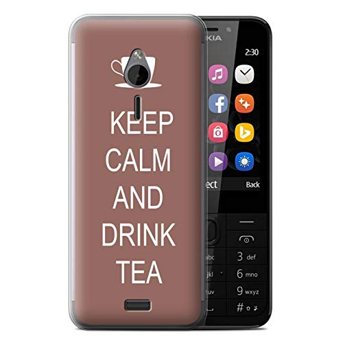eSwish Gel TPU Phone Case/Cover for Nokia 230 / Drink Tea/Brown Design/Keep Calm Collection ()