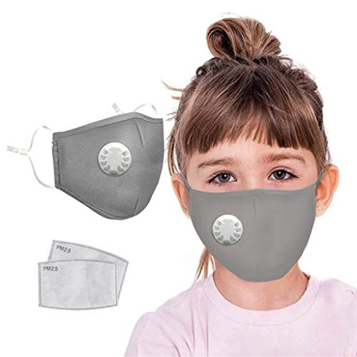Kids Baby Washable Cotton Anti Dust Reusable Comfortable Ear Loop Adjustable Pm2.5 Dustproof Windproof Outdoor for Students (1pcs Gray+2 x Filter)