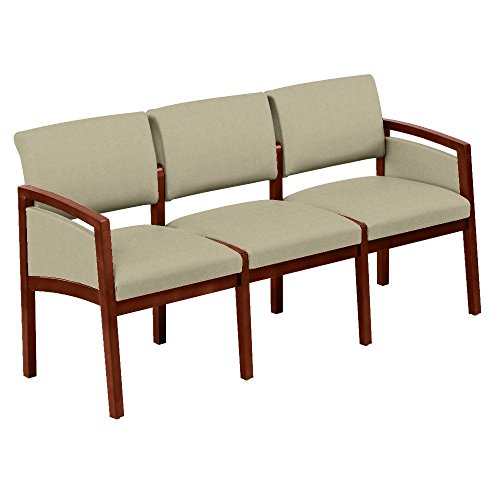 One Set, Lenox Panel Arm Three Seat Fabric Loveseat Dimensions: 65''W x 26''D x 31.5''H Weight: 61 Lbs Each Seat Supports Users Up to 275 Pounds - Angora Fabric/Cherry Finish by Lesro
