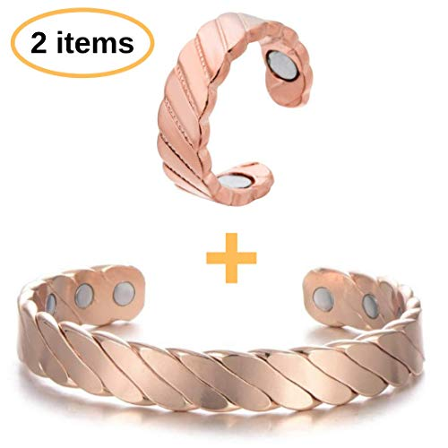 BodyMoves Copper Bracelet Plus Ring with Magnets(Royal Design)