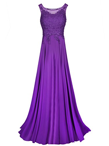 Tanpell Womens Straps Appliques Long Chiffon Formal Party Dress (10, Purple)