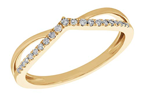 Prism Jewel 0.11 Carat Round Natural Diamond Wishbone Ring, 14k Yellow Gold, Size 9.5 ()