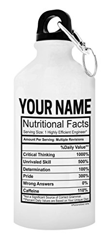 ThisWear Personalized Engineering Gifts for Women Custom Engineer Name Nutritional Facts Civil Engineering Gifts Personalized Gift Aluminum Water Bottle with Cap & Sport Top White