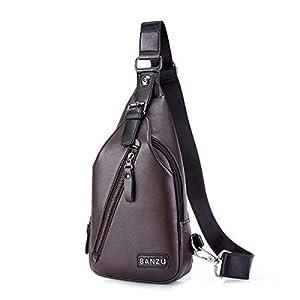 gracosy Chest Bag for Men, Leather Sling Bag Vintage Crossbody Shoulder Bag Backpack Messenger Bag Casual Daypack for…