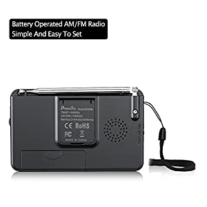 DreamSky AM FM Portable Radio with Loudspeaker and Headphone Jack, Superior Reception Radios for Emergency, Camping, Battery Operated.