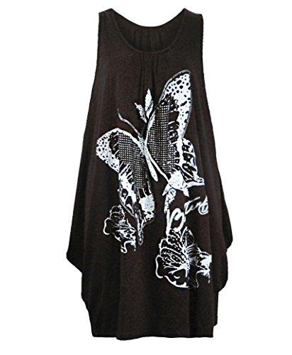 pour femme grande RageIT Marron femme long papillon taille paillette haut jersey tunique dXdqgRSx