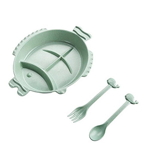 1.6l A/c (Fish Silicone Bowl by Vibola Placemat Baby Table Food Dish Tray Plate Bowl Kids Non Slip Gifts Fish-Shape Dish Bowl + Spoon + fork (C-Green))