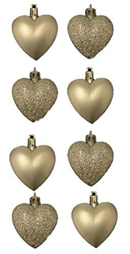 Gold Heart Ornaments - 8 x 5cm CHAMPAGNE GOLD Glitter + Matt Heart Shaped Christmas Tree Baubles by Christmas Shop
