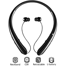 Bluetooth Headphones 12 Hrs Playtime,LISN Wireless Neckband Headset with Retractable Earbuds,Sport Stereo Sweatproof Noise Cancelling in Ear Earphones with Mic (Black)
