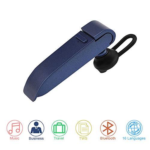 Richer-R Instant Smart Translator Device, Portable Perfect Stereo Headset Smart Multi-Language Translation Bluetooth Wireless in Ear Earpiece Earbuds Earphones Business Learning Travel(Blue)