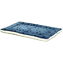 Reversible Paw Print Pet Bed in Blue / White, Dog Bed Measures 40L x 26W x 3.5H for Large Dogs, Machine Wash