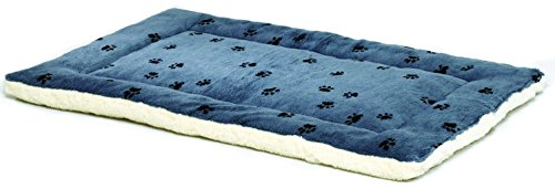 Fleece Crate Pad (Reversible Paw Print Pet Bed in Blue / White, Dog Bed Measures 23.5L x 17W x 2.8H for Small Dogs, Machine Wash)