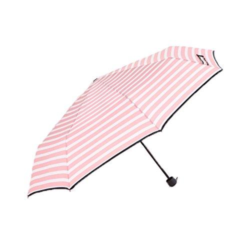 travel portable triple-folding umbrella slim stripes canopy compact travel tote collapsible parasol 4 colors