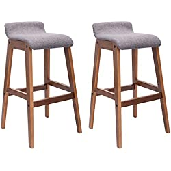 COSTWAY Set of 2 Bentwood Bar Stools Counter Height Modern Bistro Kitchen Pub Chair