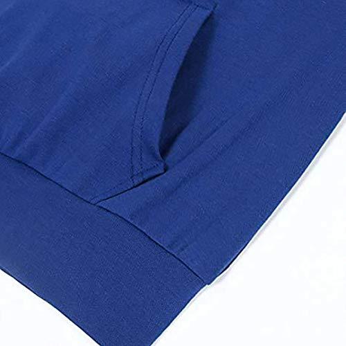 Chemisier Sweat Femme Capuche A Vous Chemise Imprim lger Chic Blouse Poids Kangrunmy Manches Longues avec Poche Arrtez Col Sweat Bleu Hoodie bnitier Shirt qEtzd5Ef