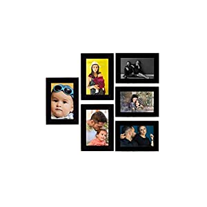 Tonkwalas Collage Individual Photo Frames, Set of 6,Wall Hanging (3 pcs – 4×6 inch, 3 pcs – 6×4 inch) (Half Inch Stick, Plexi Glass, Black)