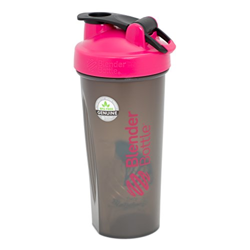 BlenderBottle Full Color Bottles - New Black Translucent Color with Shaker Ball - Pink - 28oz