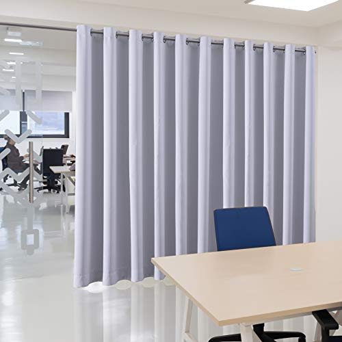 bluCOASTLINE Room Divider Curtain Extra Wide Blackout Curtain Panel for Patio/Sliding Door/Living Room/Bedroom Total Privacy Protection, 15ft Wide x 8ft Tall, Greyish White -