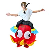 """Spooktacular Creations Inflatable Costume Riding an Octopus Air Blow-up Deluxe Costume - Child Size Fits 5-12yr (45""""-60"""")"""