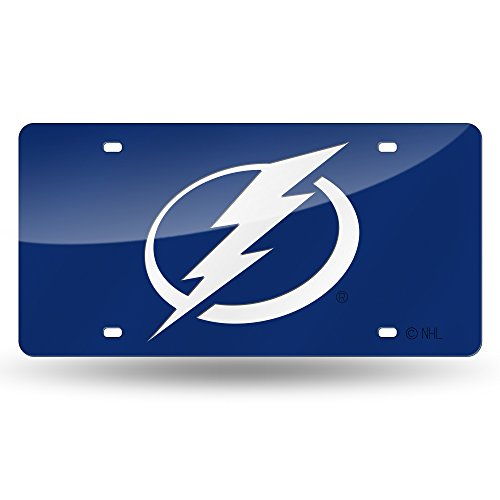 Rico Industries NHL Tampa Bay Lightning Laser Inlaid Metal License Plate Tag, Blue, 6