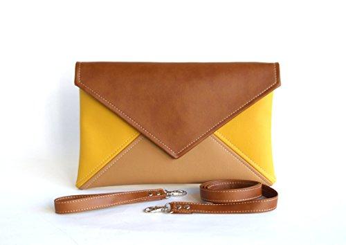 Clutch Bag envelope Handmade Brown Beige Yellow Clutch Purse Vegan Eco Faux leather Handbag Strap Evening Bag wedding bridesmaid by LudaMelnick