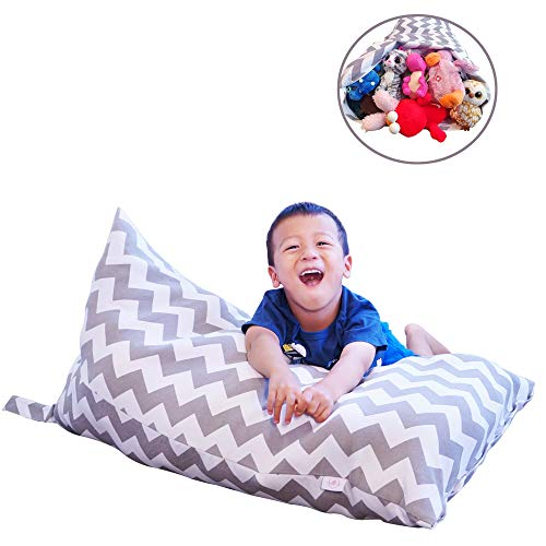 (LeTime Stuffed Animal Bean Bag Chair | Large 30gal/113L | Bean Bag Storage | Grey Chevron Bean Bag Cover | Kids Bean Bag Lounger)