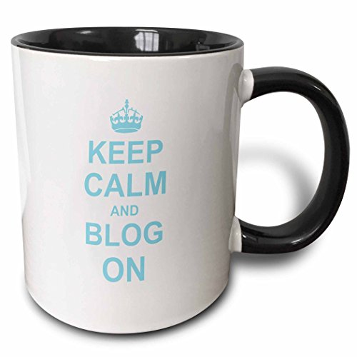 3dRose 157688_4 Keep Calm and Blog On Mug, 11 oz, Black
