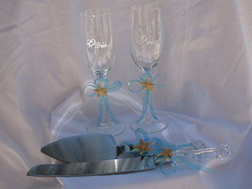 Beach Wedding Toasting Fultes and Cake Server Set Sugar Starfish Champagne Flutes and Cake Server (Starfish Champagne)