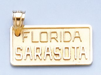 14k Yellow Gold Charm Fl-sarasota License Plate Textured