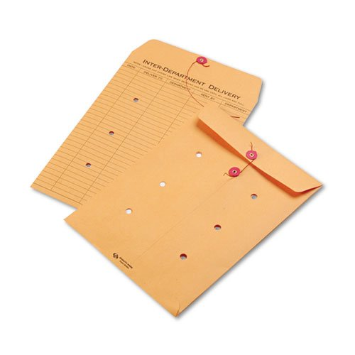 Quality Park Brown Kraft Kraft String & Button Interoffice Envelope, 9 x 12, 100/Carton by Quality Park