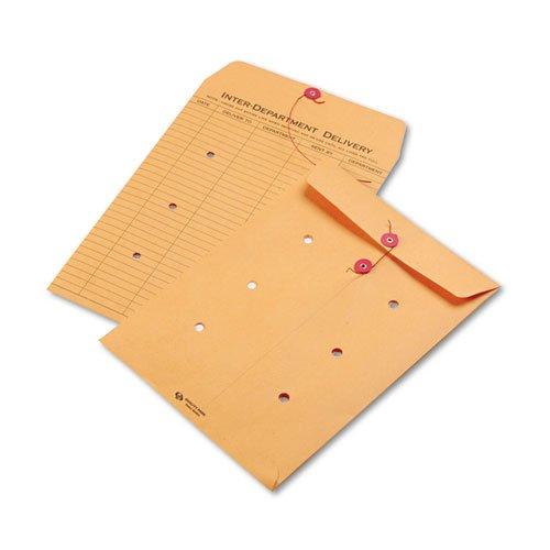 (Quality Park Brown Kraft Kraft String & Button Interoffice Envelope, 9 x 12, 100/Carton)