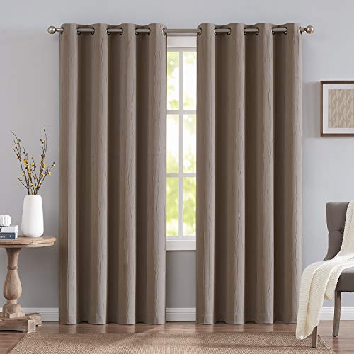 NATWIN Brown Blackout Curtains for Bedroom Windows 96 Long Crinkle Texture Window Draperies Grommet Top 2 Panels