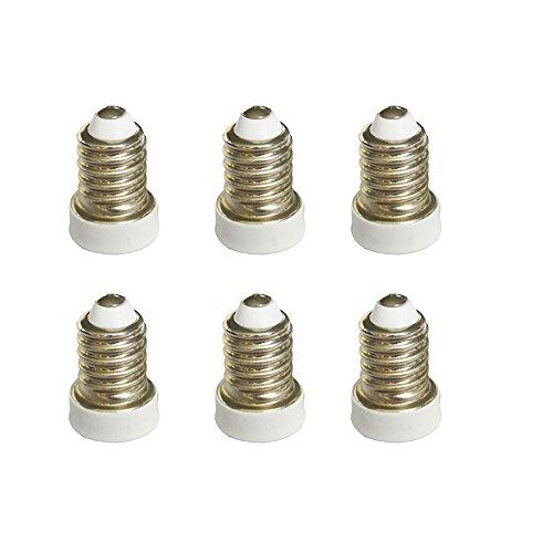 SmartDealsPro 6-Pack White Edison Screw E14 to Candelabra Screw E12 Halogen LED Bulb Base Light Converter Adapter Lamp Holder