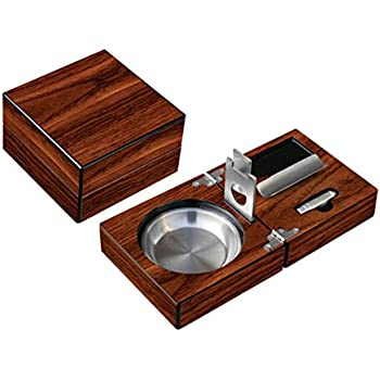 Prestige Import Group - Folding Wood Cigar Ashtray Set w/ Cutter - Color: Walnut