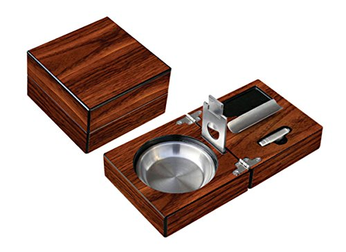 - Prestige Import Group - Folding Wood Cigar Ashtray Set w/Cutter - Color: Walnut