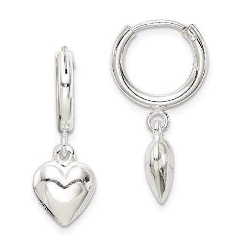 925 Sterling Silver Puff Heart Drop Dangle Chandelier Hoop Earrings Ear Hoops Set Love Fine Jewelry Gifts For Women For Her