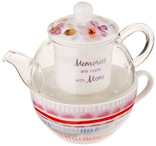 Flora by Stephanie Ryan 87224 Memories are Made with Mom Four Piece Tea Cup with Tea Pot Lid and Infuser Tea for One Set Floral Design, Purple