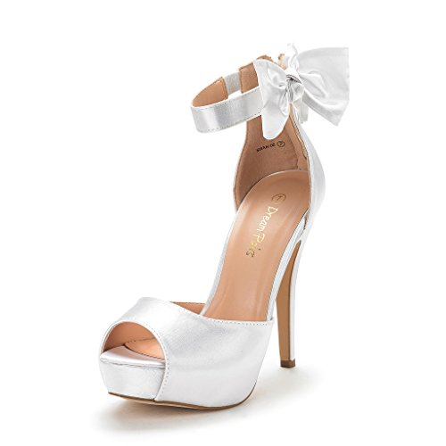 DREAM PAIRS Women's SWAN-08 White Ankle Strap Heel Pump Shoes Sandals Size 5 M US ()