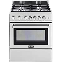 Verona VEFSGG304NSS 30 Freestanding Gas Range with 4 Sealed Burners, 3.0 cu. ft. Capacity, Convection Oven, Warmer Drawer, & Electronic Ignition, in Stainless Steel.