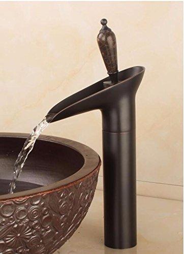 Bijjaladeva Antique Bathroom Sink Vessel Faucet Basin Mixer Tap All copper antique faucet hot and cold retro glass basin single cold basin art basin mixer console V
