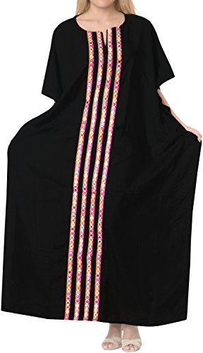 delle rayon sala LA più Nero abito sonno notte caftano lungo caftano LEELA b157 usura il di donne insabbiare PEF5Hqx5w