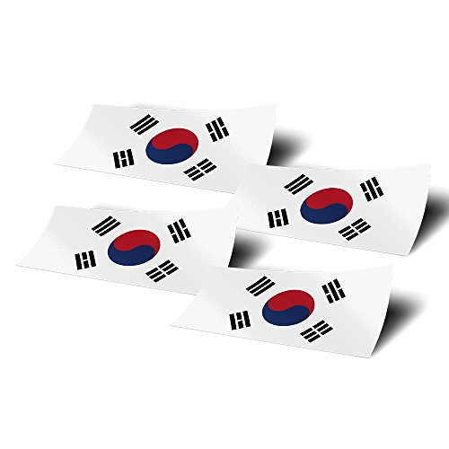 Desert Cactus South Korea 4 Pack of 4 Inch Wide Country Flag Stickers Decal for Window Laptop Computer Vinyl Car Bumper Scrapbook Korean 4
